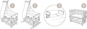 Fasi di montaggio e tipi di utilizzo del lettino per bambini Rock Star